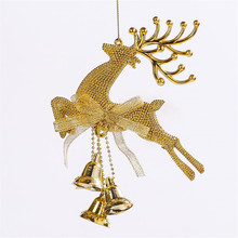 1pc Gold Reindeer Deer Elk Christmas Tree Hanging Decoration Xmas Ornaments Pretty Baubles With Ring Bell Decor Party Suppllies