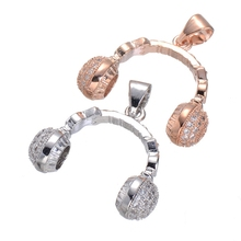 Jewelry Making Supplies Silver Rose Gold Color Copper Zircon Headphone Charm Pendant For Bracelet Necklace Jewellery Making(China)