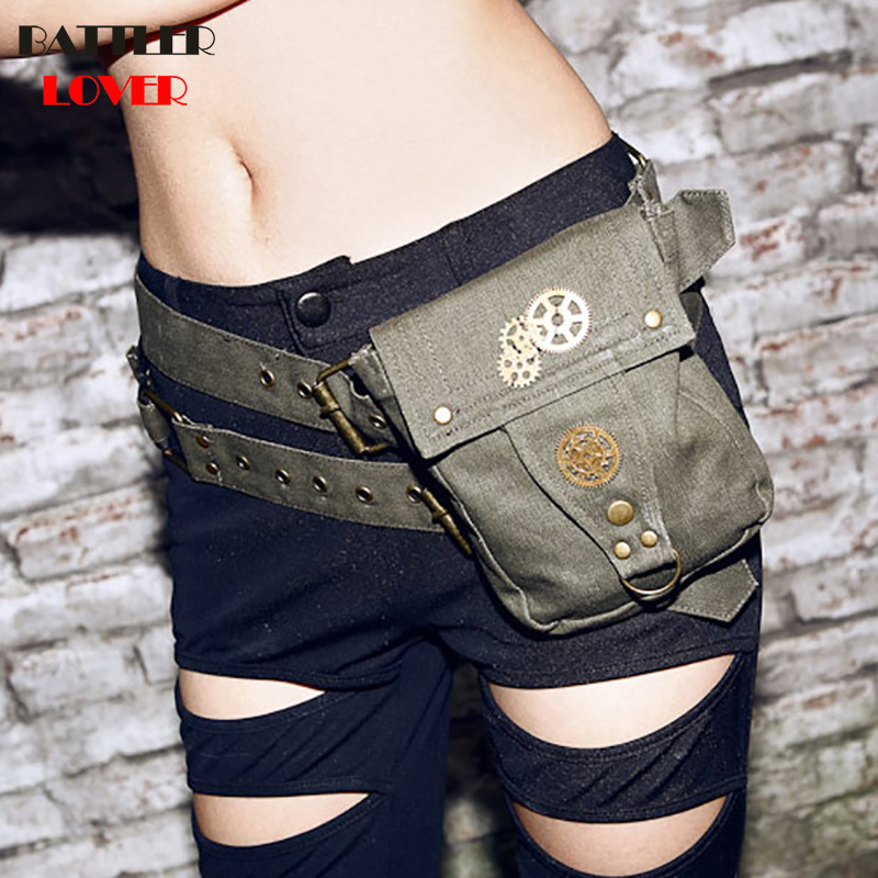 Lady Pockets Denim Waistbag Messenger Bag Punk Mujer Femme Women Hiking Waist Bag Women