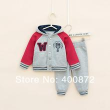 Children's Clothing Sets Winter/autumn 100%cotton baby Boy's 2piece suit set sport suit sets tracksuits hoody jackets+trousers(China)
