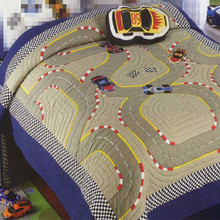 MV Race Track Applique Embroidery Quilt Set 100%cotton 2pcs Patterned with Racing Car bedspread Twin size Free Shipping(China)
