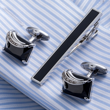 Drop Shipping new Necktie Set Tie Bar Cufflinks Tie Clip High Quality Onyx Cuff Links Tie Pin Men Jewelry 21