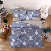 Home Textiles,Gray Christmas Tree Pattern Bedding Sets 3/4Pcs Duvet Cover Bed Sheet Pillowcase King Queen Full Twin Size