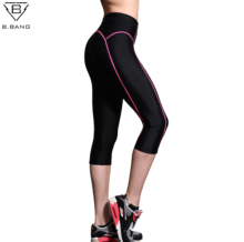 B.BANG Yoga Leggings Women High Elasticity Sports Cropped Pants Quick Dry Gym Running Capris Fitness Yoga Female Tights