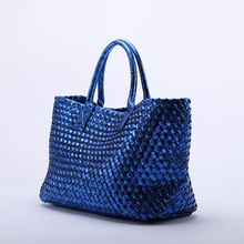 Luxury Weaving Women BagHandbag 2017 New Leather Ms.  Fashion Commuter OL Snake Tote Shoulder bag shopping bag~Star models~16B2
