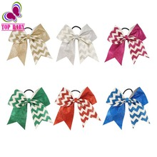Fashion Bling Girl's Chevron Ribbon Hairbows With Elastics bands Cheerleader Women Teen Hair Accessories Gift 2Pcs/lot