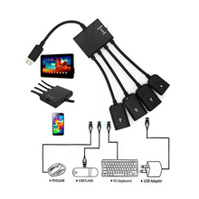 4 Port USB Hub Micro Charging OTG Cable Splitter Connector for Smartphone Tablet PC EM88(China)