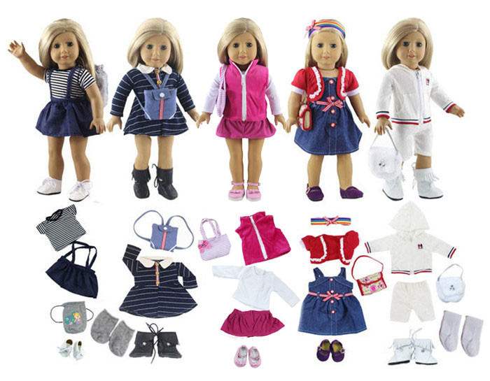 Lot 17 Item=5 Set Doll Clothes+5 Pair Shoes+5 Pieces Bag+2 Pair Socks for 18 Inch American Girl Doll Handmade Casual Wear Outfit<br>
