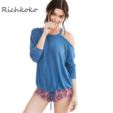 Richkoko Apparel Summer Sweet Loose Female Top Tees Blue One Shoulder Casual Chic Women T-shirt Sexy Lace Up Basic Pullover Tops