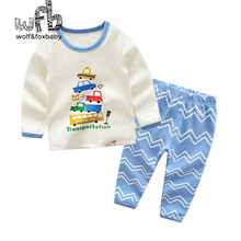 Retail 1-10 cotton long-sleeves T-shirt home service + pants cartoon printing children spring fall autumn