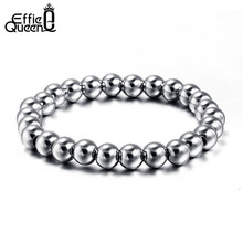 Effie Queen New Fashion Style Men Women Stretchable Bead Bracelets High Quality Stainless Steel Bead Bracelet WTB10(China)