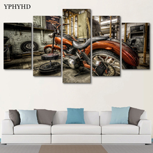 YPHYHD Modular Canvas Art Wall Pictures Frame Home Decor Photo 5 Panel HD Printed Motorcycle Race Poster Car Modern Oil Painting(China)