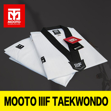 MOOTO WTF Dobok Taekwondo Dobok Uniform Kukkiwon Korea Taekwondo Dobok with Special Fabric Cotton black V-neck adult clothes(China)