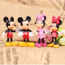 4pcs/set Mickey Minnie Mouse  Miniatures Dolls PVC Action Figures Cartoon Anime Figurines Kids Toys for Boys Girls