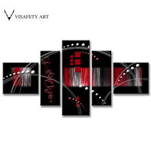 5 Pcs/Set Abstract Painting Red Black Combined Abstract Canvas Wall Art Picture Modern Canvas Oil Art Prints ,(China)