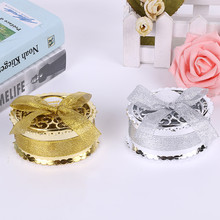 golden and silver creative wedding and baby shower plastic candy box exquisite wedding and party gift box circular with bow