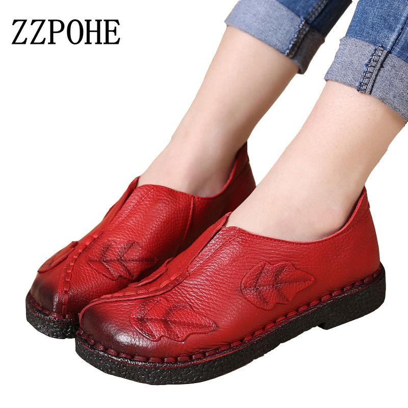 ZZPOHE Soft hand hand-sewn women shoes Leather fashion Mother work shoes casual comfortable female breathable flat shoes size40<br>
