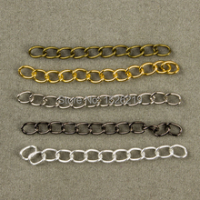 100pcs 5cm Gold/Silver/Gun Black/Antique Bronze Color Necklace Extender Chain Bulk Extension Tail Chains for Jewelry Making(China)