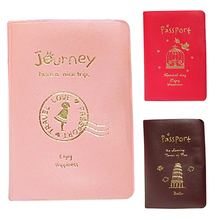 Simple Travel ID Card Holder Skin Faux Leather Passport Cover Case Protect