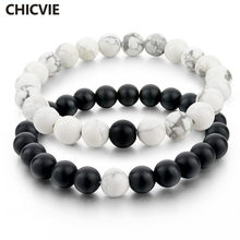 CHICVIE Black and White Natural Stone Distance Bracelets for Women Men Strand Bracelets & Bangles Lovers Gifts Jewelry SBR160101(China)