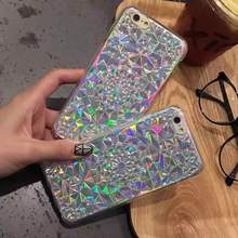 "Fashion 3D Diamond Sun flower Glitter Bling Laser Rainbow Color Phone Case For iPhone 6 6S 4.7""6Plus 5.5""Back cover coque capa"