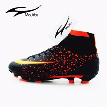 MAULTBY Men's Black Orange High Ankle AG Sole Outdoor Cleats Football Boots Shoes Soccer Cleats #SS3008B(China)