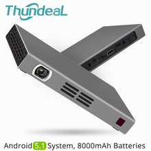ThundeaL T16 DLP Projector 150ANSI Android 5.1 WiFi Bluetooth Battery Handheld Game Video Miracast Airplay Mini LED Projector(China)