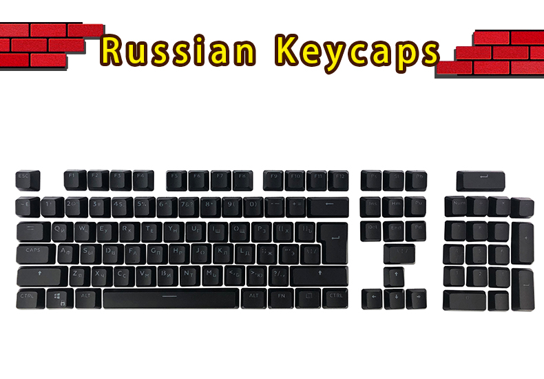 Russian Keycaps for Mechanical Keyboard Compatible with MX Switches DIY Replacement Transparent Support Led Lighting Keycaps