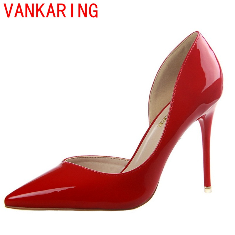 VANKARING shoes 2017 women fashion superstar pumps queen simple thin high heels slip-on elegant shoes pointed toe hot sale shoes<br><br>Aliexpress