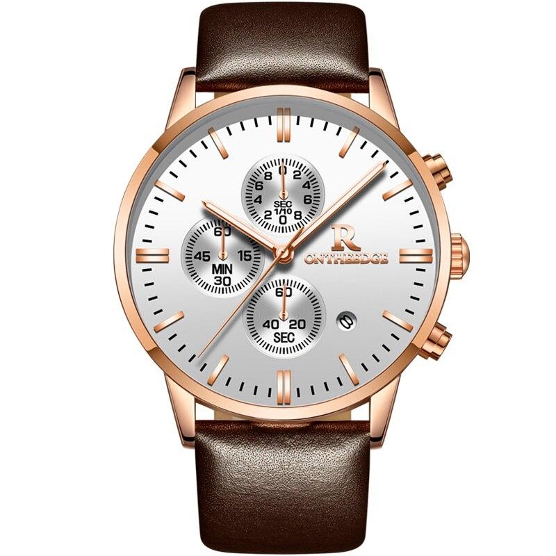Chinese New Mens Watches Top Brand Luxury Genuine Leather Strap Quartz Watch Men Fashion Relogio Masculino Waterproof Stopwatch<br>