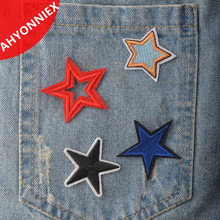 1PCS Ah Yonniex Brand Multi Colors Five Star Patch Iron On Or Sew Fabric Sticker For Clothes Badge Embroidered Appliques DIY(China)