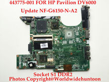 Original laptop motherboard for HP Pavilion DV6000 443775-001 DA0AT8MB8H6 Socket S1 DDR2 Update NF-G6150-N-A2 Works better