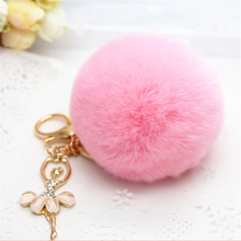 Lovely Angle pendant Imitation Rabbit Fur ball plush key chain Ball Bag Car Ornaments Metal keychain 6 Colors Free shipping