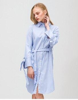 Westlink 2017 Printemps Nouvelle Bande Dentelle-up Bouton Manches Longues Coton Genou-Longueur Style Blouses Femmes Robe