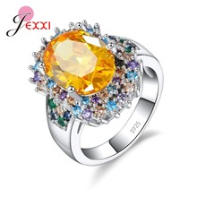 JEXXI Shiny Cubic Zircon Multicolor Ring for Wedding Party Jewelry 925 Sterling Silver Mujer Anillos Women Flower Orange Ring(China)