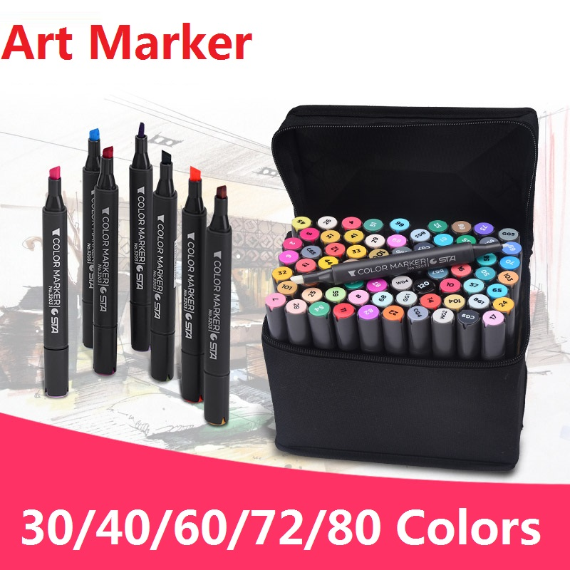 Alcohol Marker Pen solventborne double slider mark pen Set No.3203<br>