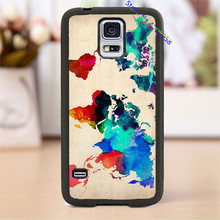 watercolor world map cell phone cover case for Samsung Galaxy S3 S4 S5 s6 s7 s6 edge s7 edge note 3 note 4 note 5 &M#620