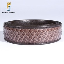 FAJARINA High Quality Real Snake Skin Men Automatic Ratchet Style 35mm Forml Casual Belts without Buckle New Design NBTO001(China)