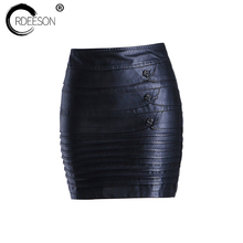 Buy ORDEESON Micro Mini Skirts Leather Skirt Plus Size Faux Leather Winter Black High Waist Skirts Womens M-XXXL Solid Pencil Slim for $23.39 in AliExpress store