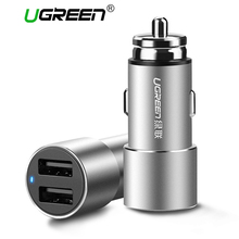 Ugreen Mini Dual USB Car Charger 3.6A Universal Car-Charger Fast Mobile Phone Travel Charger For iPhone 6 7 LG Samsung Xiaomi(China)