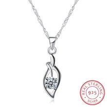 Fine Jewelry Necklaces & Pendants 925 Sterling Silver Classic Leaf Collar Women 18inch Ribbon Jewels Wedding Party Gift N0054