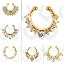 Ethnic Hollow crystal clicker fake septum For Women Studs Clip Hoop nose ring Faux Piercing Punk Men Body Jewelry non Wholesale