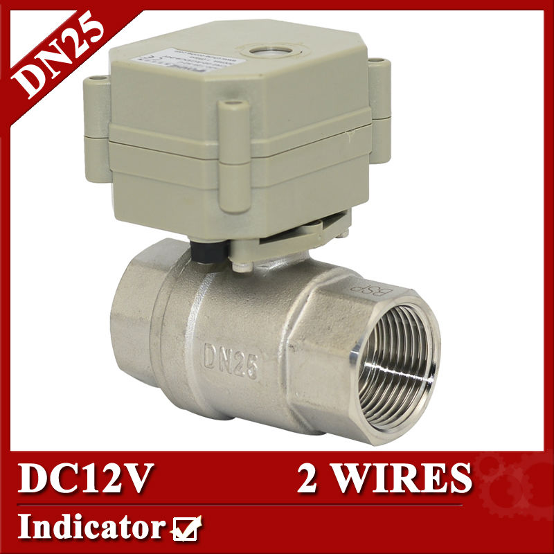 1 12VDC Electric Ball Vlave with indicator,stainless steel electric valve 2 wires(CR201)control for water treatment<br><br>Aliexpress