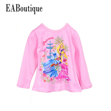 Winter Retail Cartoon princess shirt  Brand children t shirts Kid's clothing cotton for 3-8T Full sleeve casual girls blouse