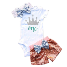 Infant Newborn Baby Girls Clothes Set Summer Sequins Bow Flower Headband Romper Bottoms Baby Girl 3pcs 1st Birthday Outfit Sets(China)
