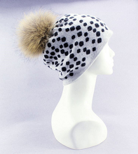 100%goat cashmere winter fashion beanie hats thick dots bonnets for unisex with fox fur ball EU/M(56-58cm)(China)