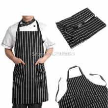 Adjustable Black Stripe Bib Apron with 2 Pockets Chef Waiter Kitchen Cook Tool H06