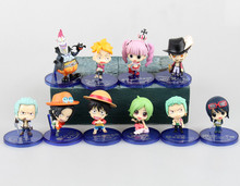 new 5~7cm 10pcs/1set  One Piece MH POP  Ace Luffy Nami Usopp Sauron   action figure toys Wholesale