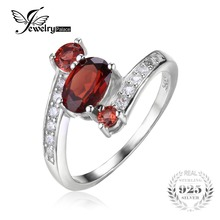 JewelryPalace 925 Sterling Silver 1.2ct Red Garnet 3 Stone Anniversary Ring For Women Romantic Fashion Jewelry Gift(China)