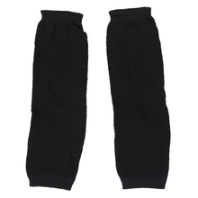 Ladies Winter Stretchy Cuff Fingerless Black Knitted Long Gloves Arm Warmers Pair(China)